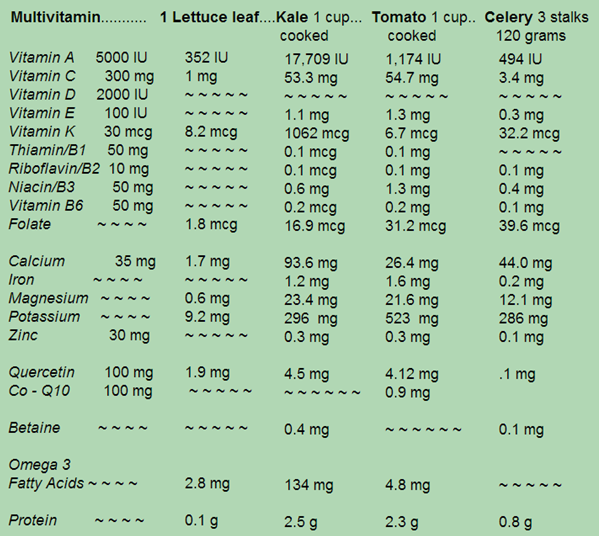 Chart comparing nutrition in a multi-vitamin to some commonly grown vegetables