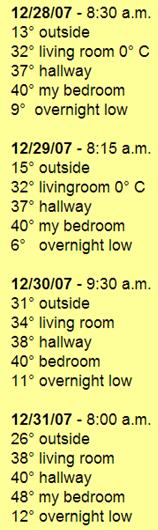 '07 Temperatures con't